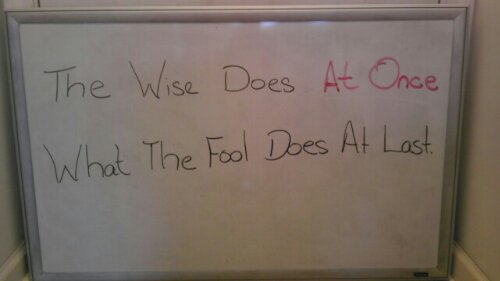 Whiteboard quote of the day: The Wise Does at Once What the Fool Does at Last